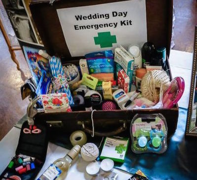 Emergency kit for a wedding in Cornwall. This photo was used at a wedding or photoshoot by Jenny Wren Wedding Planner in Cornwall