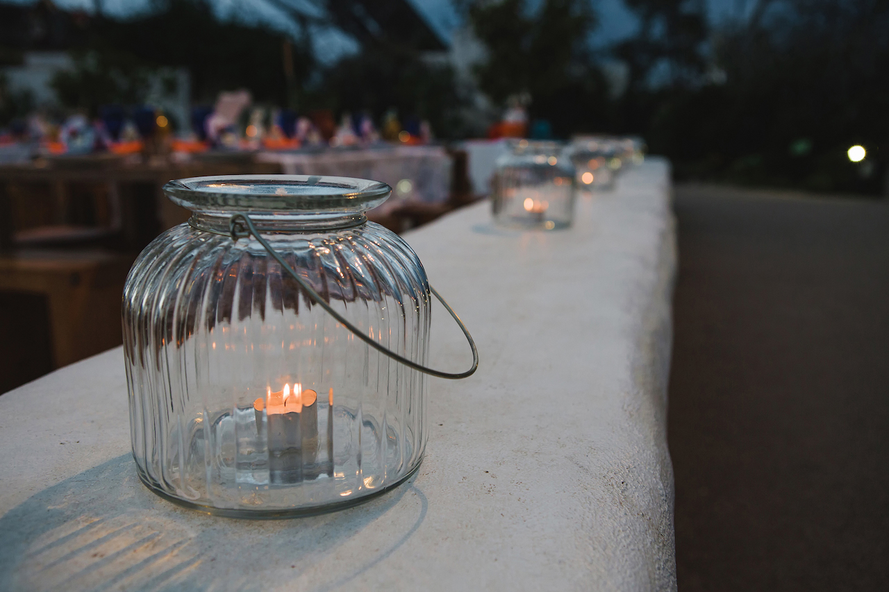 Candles in Eden Project biome - Wedding stylist Cornwall