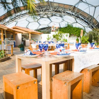 Zoomed out shot of one of the domes at a Mediterranean styled wedding at the Eden Project in Cornwall. This wedding was planned by Jenny Wren Wedding Planner.