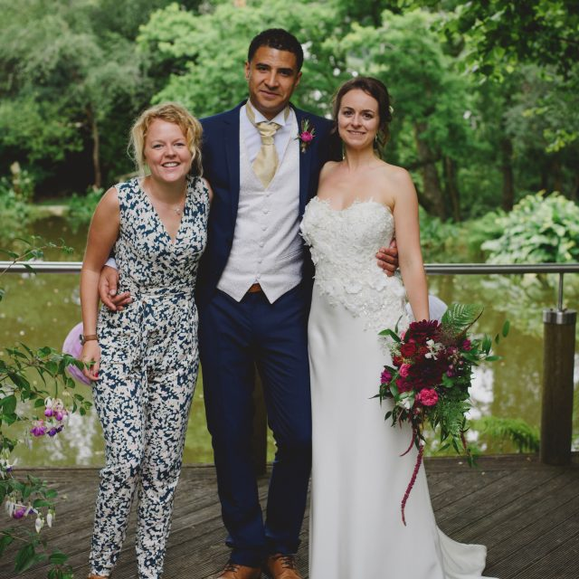 Jenny wren wedding planner with bride and groom at a wedding at a private home in Lanhydrock, Cornwall.
