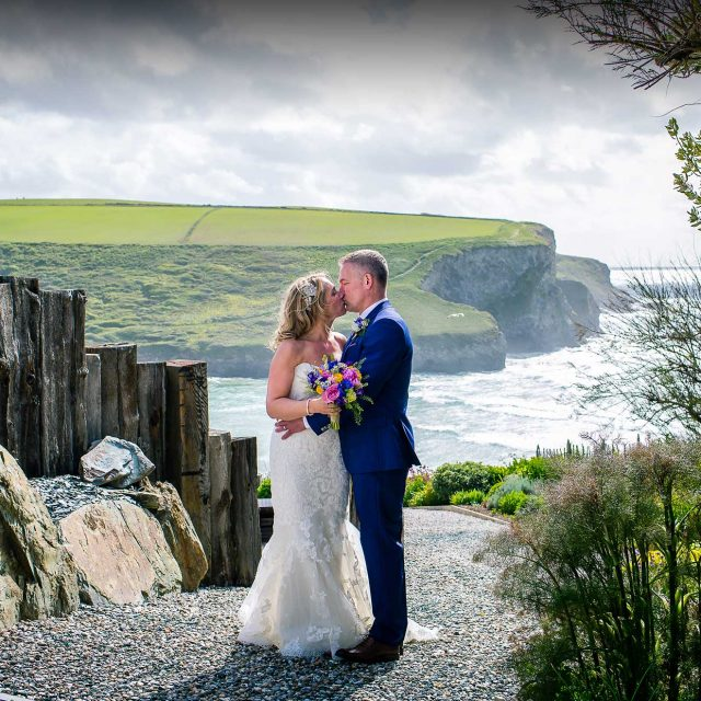 Picture of the bride and groom at a Cornwall wedding. This wedding was planned by wedding planning expert Jenny Wren in Cornwall.