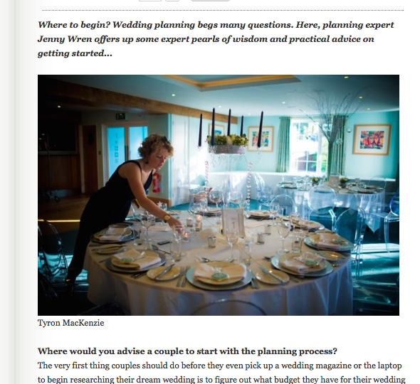 Feature from Wed Magazine by Jenny Wren, Wedding Planner in Cornwall
