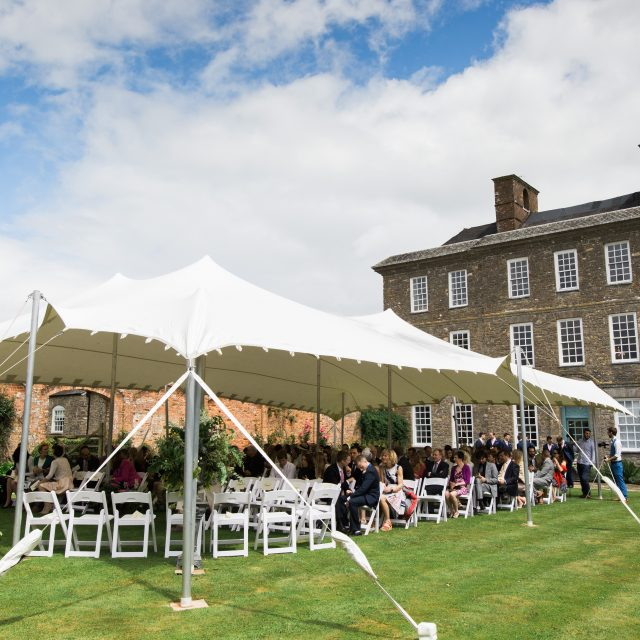 marquee at a wedding at the Kingstone Estate in Devon. Alice and Tarquin planned their wedding with Jenny Wren, Wedding Planner