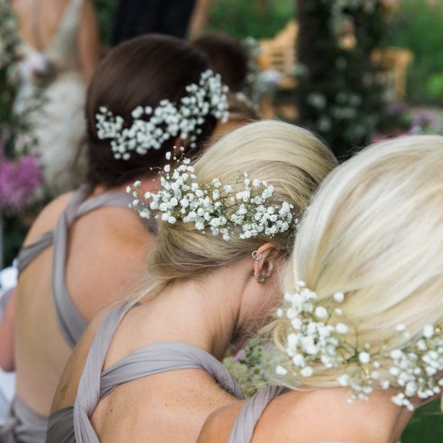 Photo of the Bridesmaids at Alice and Tarquin's wedding at Kingstone Estate, Devon. This wedding was planned by Jenny Wren Wedding Planner