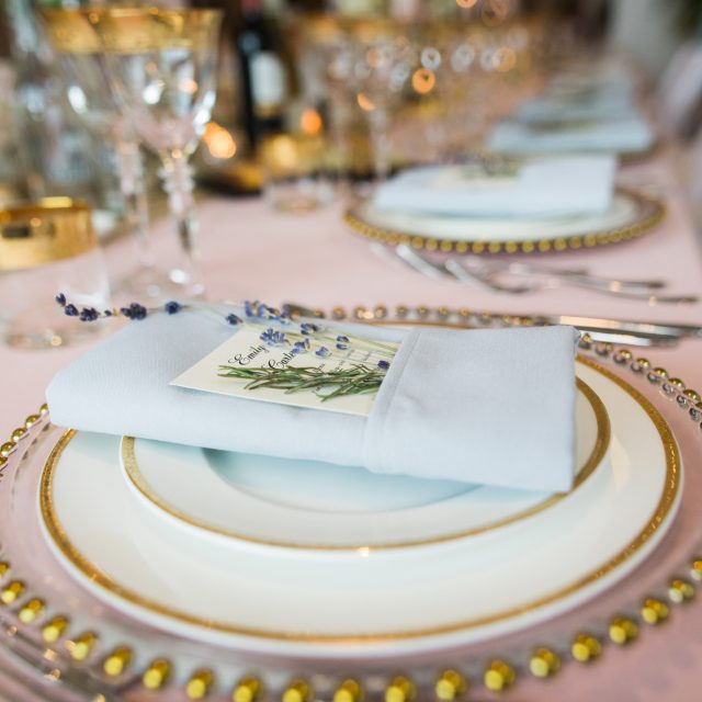 Table settings at a wedding at the Kingstone Estate in Devon. Alice and Tarquin planned their wedding with Jenny Wren, Wedding planner in Devon and Cornwall