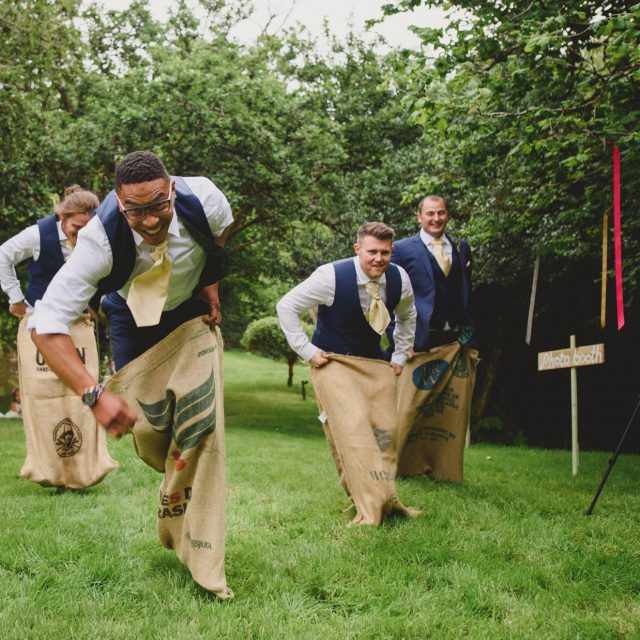 Groomsmen at Polly and Benjamin's wedding at their private home at Lanhydrock Cornwall.