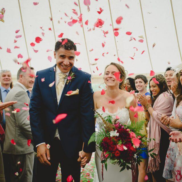 Bride and groom at Polly and Benjamin's wedding at their private home at Lanhydrock Cornwall.