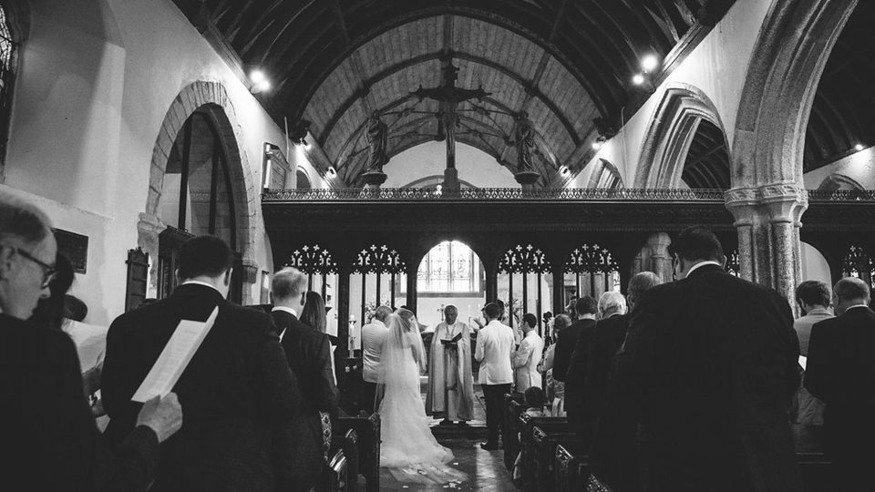 The ceremony at the Fowey Hall Hotel in Cornwall. Victoria and Marcus planned this wedding with Jenny Wren, Wedding Planner in Cornwall