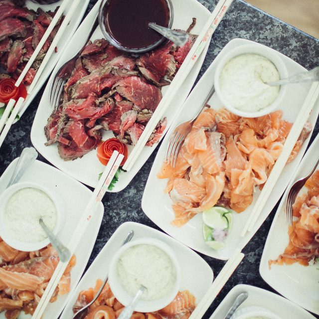 Food at Jamie and Ariko's Wedding at Boconnoc House in Cornwall. This wedding was planner by Jenny Wren wedding planner in Cornwall.