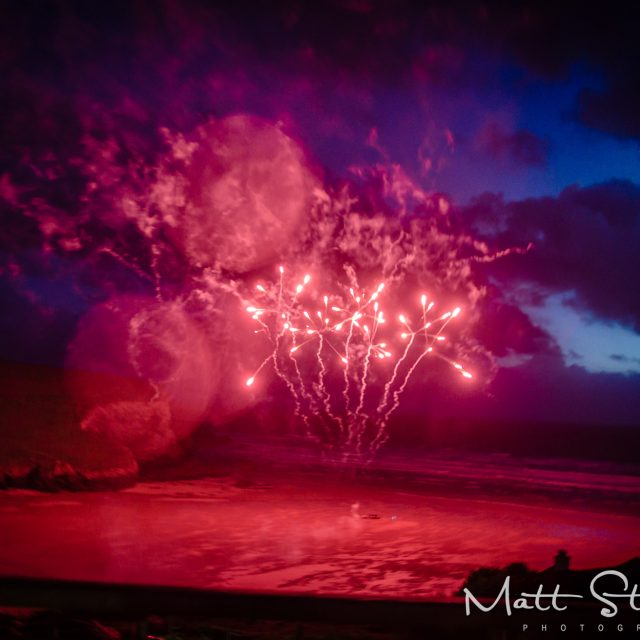 Fireworks at Peter and Lorraine's wedding at the Scarlet Hotel in Cornwall. This was all planned by Cornwall Wedding Planner Jenny Wren