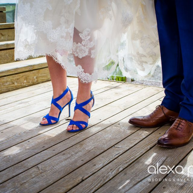 Picture of the Bride's Shoes at Peter and Lorraine's wedding in Cornwall. This wedding was curated by Jenny Wren, Wedding Planner in Cornwall