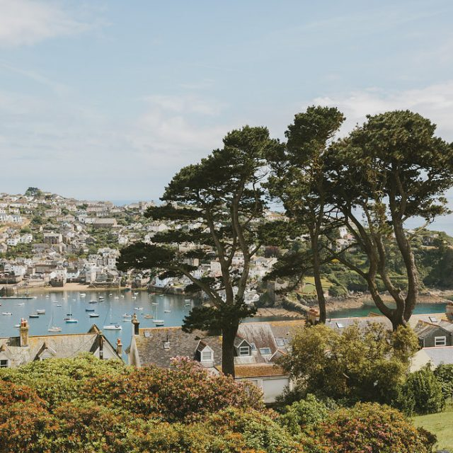 The view outside the venue at Victoria and Marcus's wedding at Fowey Hall Hotel in Cornwall. Plan your wedding like this one with Jenny Wren, Real Wedding Planner in Cornwall.