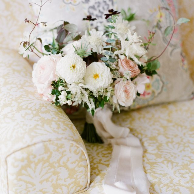 Flowers at a wedding at Boconnoc House in Cornwall. Sarah and Mark planned their wedding with real wedding planner Jenny Wren.