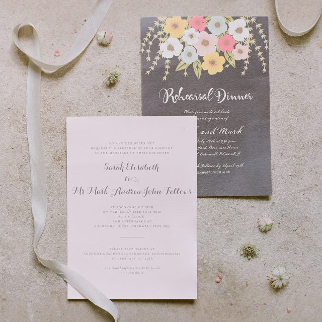 Wedding Stationery at Sarah and Mark's wedding at Boconnoc House. This wedding was planned by Wedding Planner in Cornwall Jenny Wren