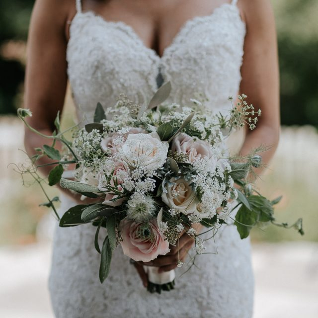 Close up of Anna's bouquet for her wedding to Stuart in Cornwall