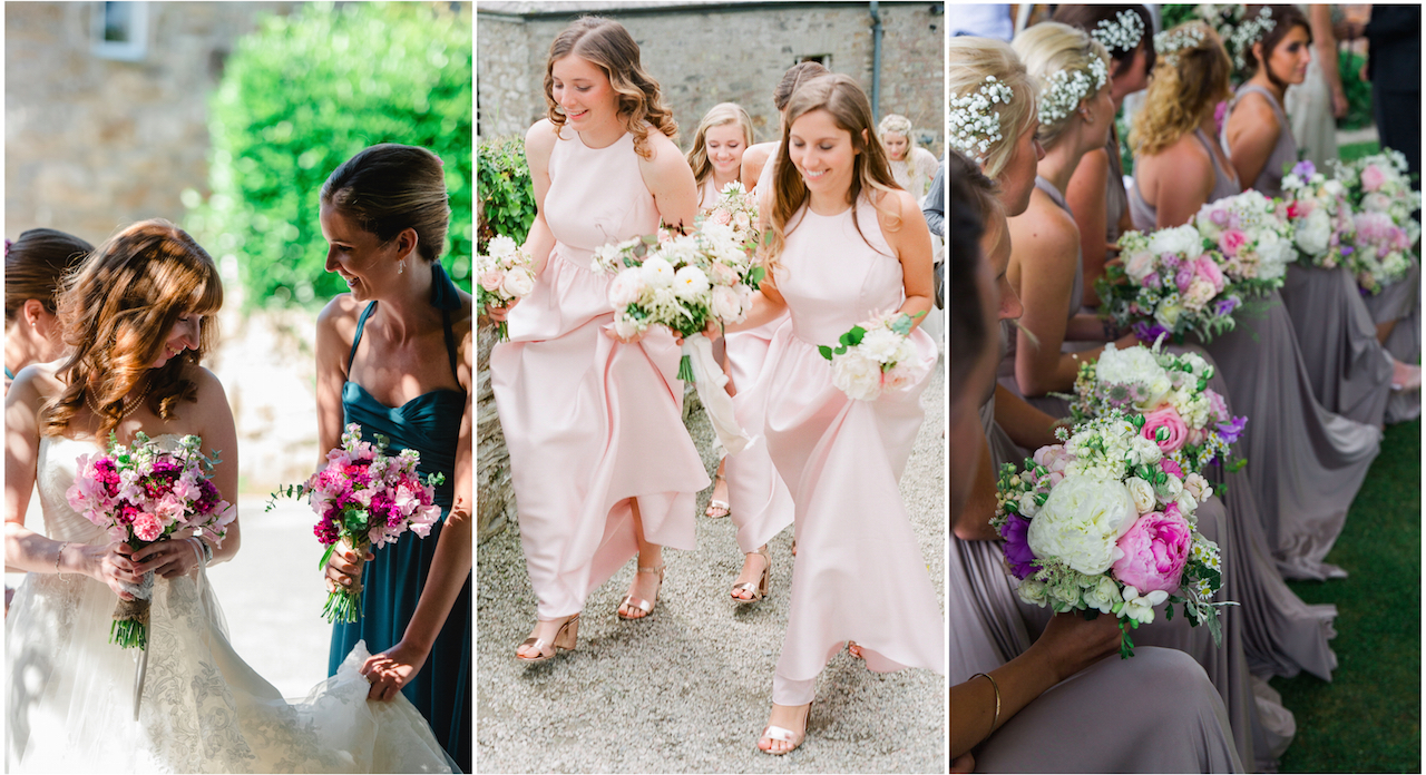 Bridesmaids in their dresses at a wedding in Cornwall