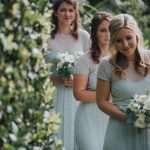 Bridesmaids arriving at a wedding in Cornwall