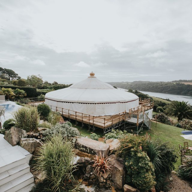 Photo of the marquee used at Katie and Rob's Cornwall wedding at Trebah Gardens in Cornwall. This picture was taken during a wedding planned by Jenny Wren, Wedding Planner in Cornwall.