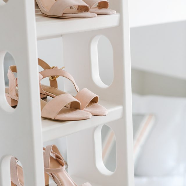 Pale pink strappy bridesmaid shoes