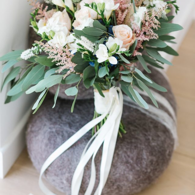 Brides bouquet pale pink and green