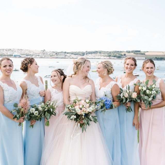 Bride and bridesmaids at Porthilly Farm, Cornwall