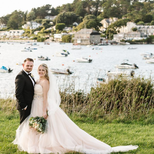 Bride and groom at Porthilly Farm, Cornwall