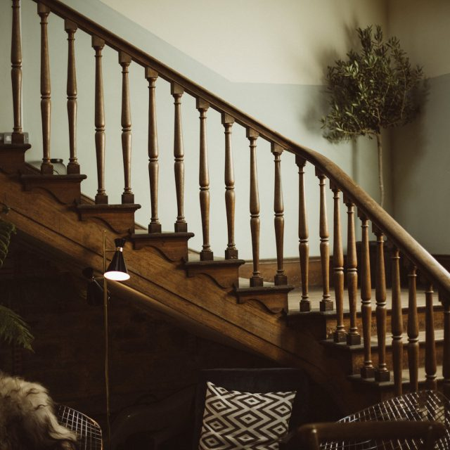 wooden staircase at Enys House wedding venue in Cornwall