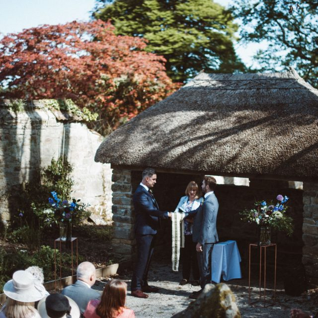 Outside ceremony in Enys gardens, Cornwall