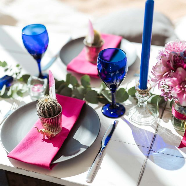 Table decorations at a birthday party in Cornwall for Lucy planned by Jenny Wren
