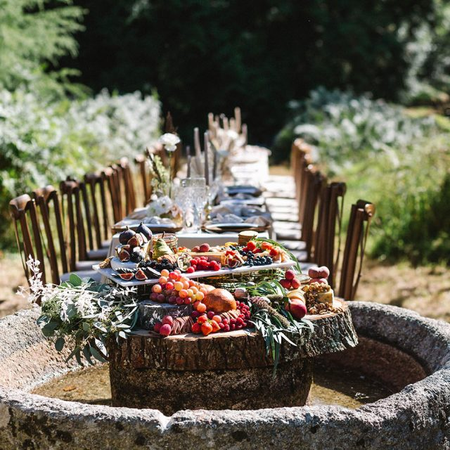 Wedding dining at a styled wedding shoot with Jenny Wren Wedding Planner at Boconnoc House, Cornwall