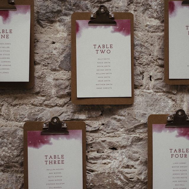 Table seating plan at styled shoot in Plymouth, Devon