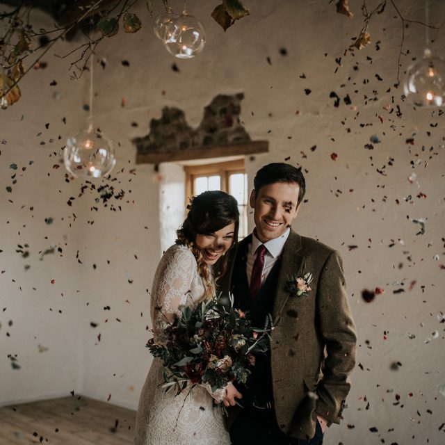 Bride and Groom after the ceremony at styled wedding shoot at Launcells Barton, Cornwall