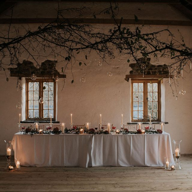 Top table at styled wedding shoot at Launcells Barton, Cornwall