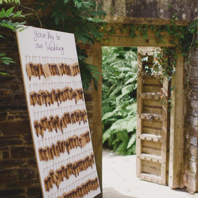 Seating plan at a private home wedding in Cornwall