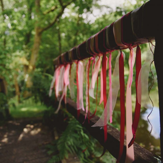 Woodland decorations at a private home wedding in Cornwall
