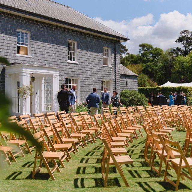 Wedding ceremony ready at Pamflete House in Devon