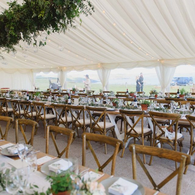Dining set up at a wedding at Carswell Farm, Devon.