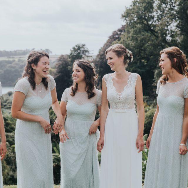 Bride and bridesmaids at a wedding at Trebah Gardens in Cornwall