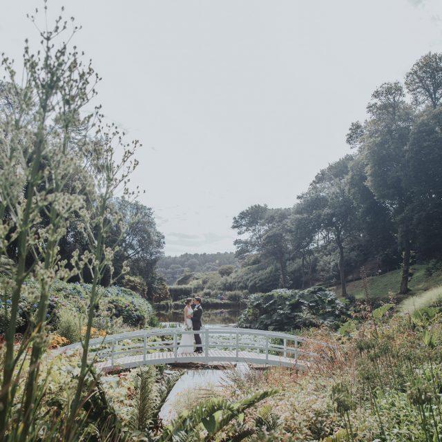 Bridge views at a wedding at Trebah Gardens in Cornwall