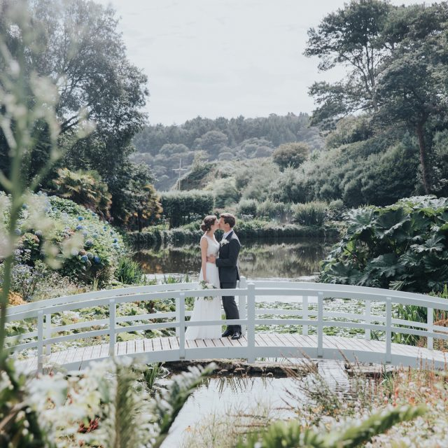Bridge views at a wedding at Trebah Gardens in Cornwall