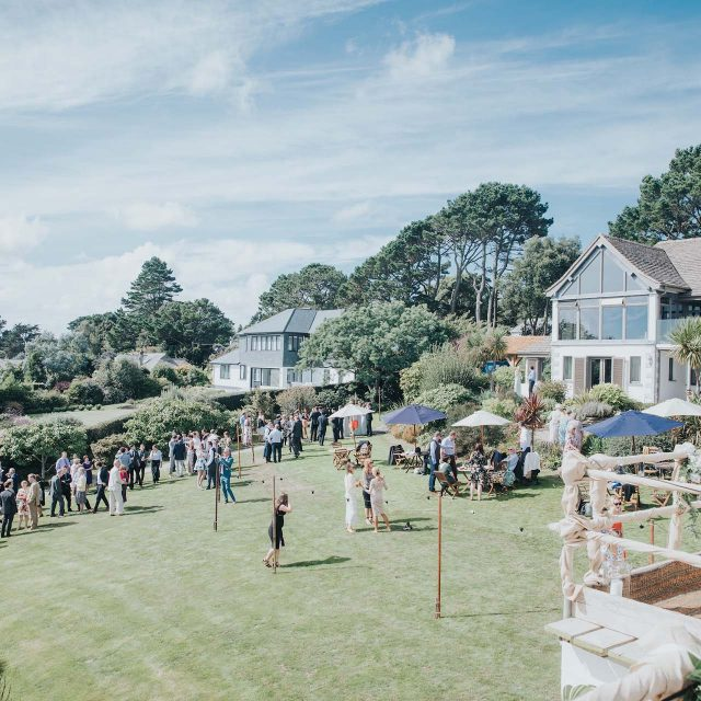 Aerial view at a private home wedding in Cornwall