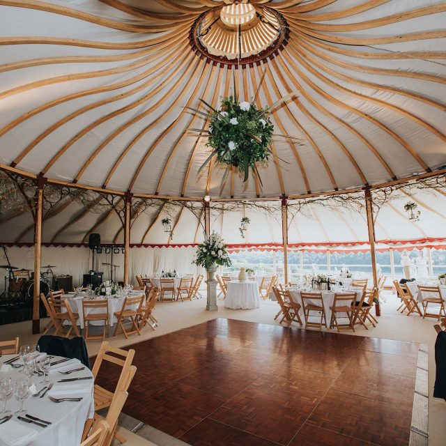 Dancing and dining space at a private home wedding in Cornwall