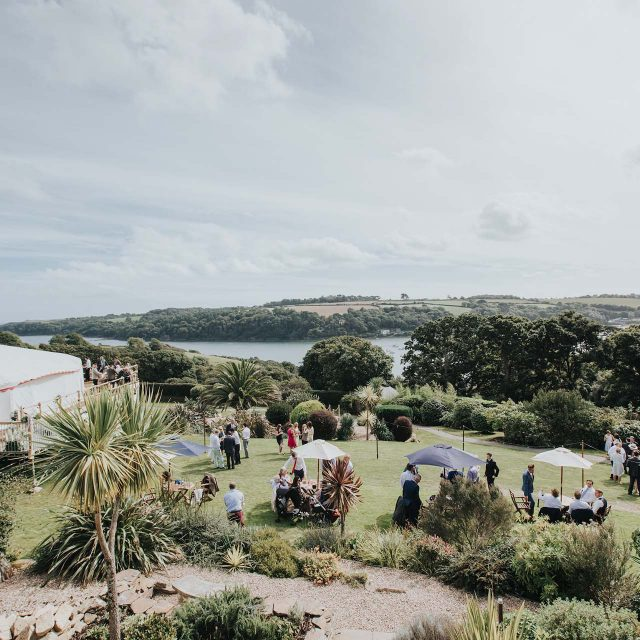 View from the venue at a private home wedding in Cornwall