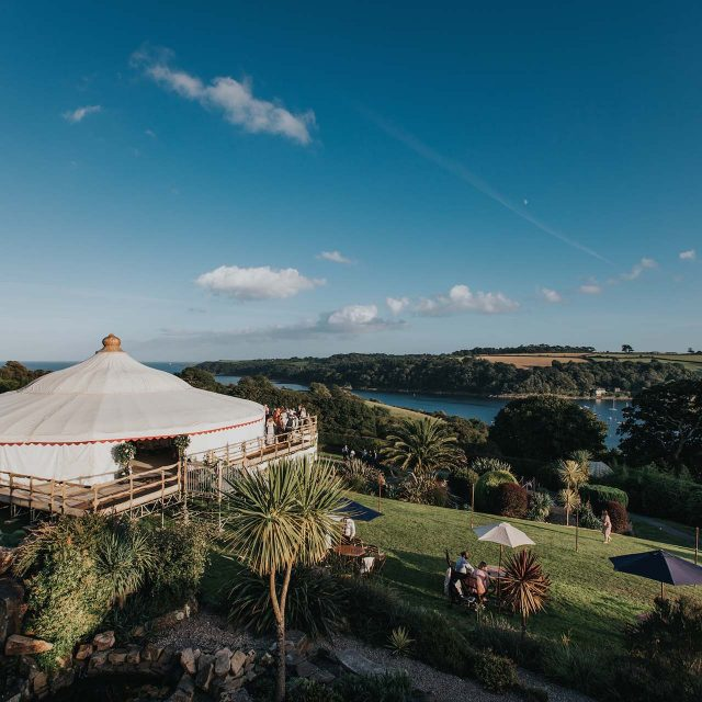 Beautiful views at a private home wedding in Cornwall