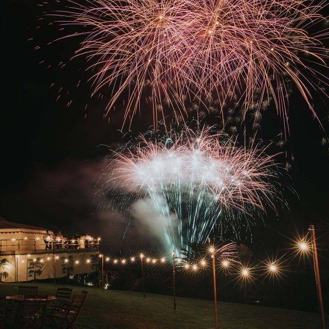 Fireworks at a private home wedding in Cornwall