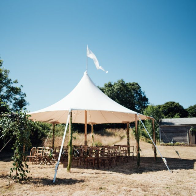 Marquee ready at a styled wedding shoot at Camel Studio in Cornwall