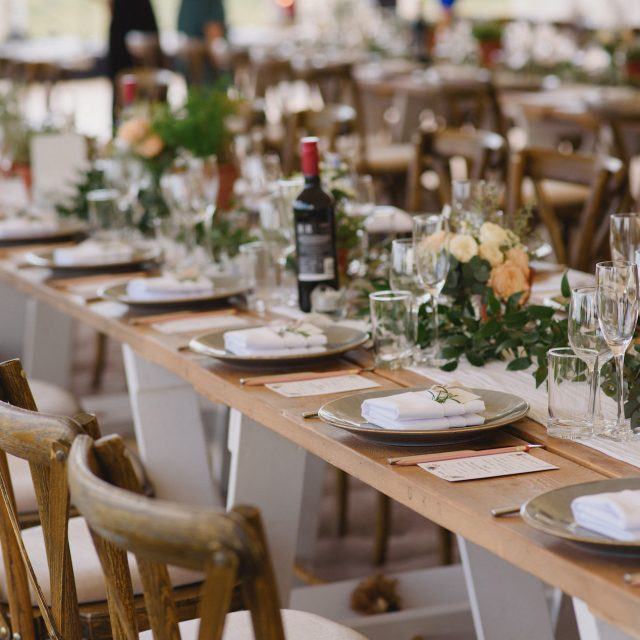 Dining tables ready at a wedding at Carswell Farm in Devon
