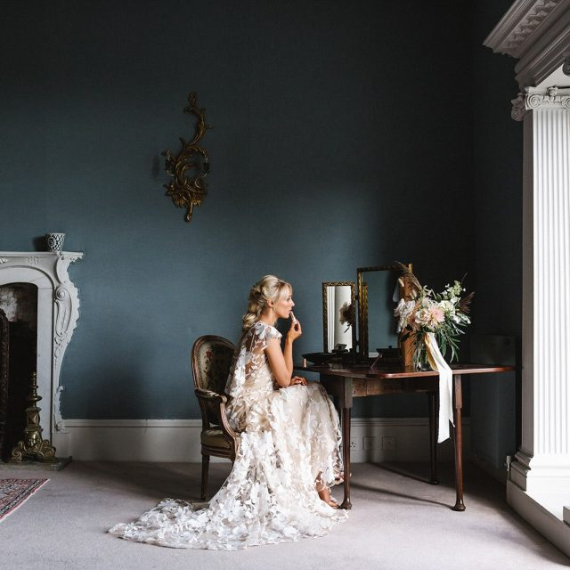 Interior bride photo from the wedding styled shoot at Boconnoc House in Cornwall