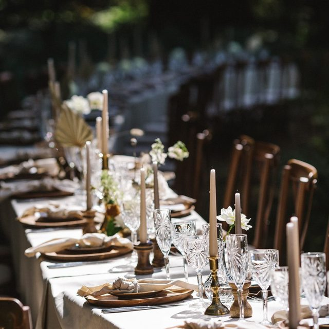 Shot of the dining table during a styled wedding shoot at Boconnoc House in Cornwall