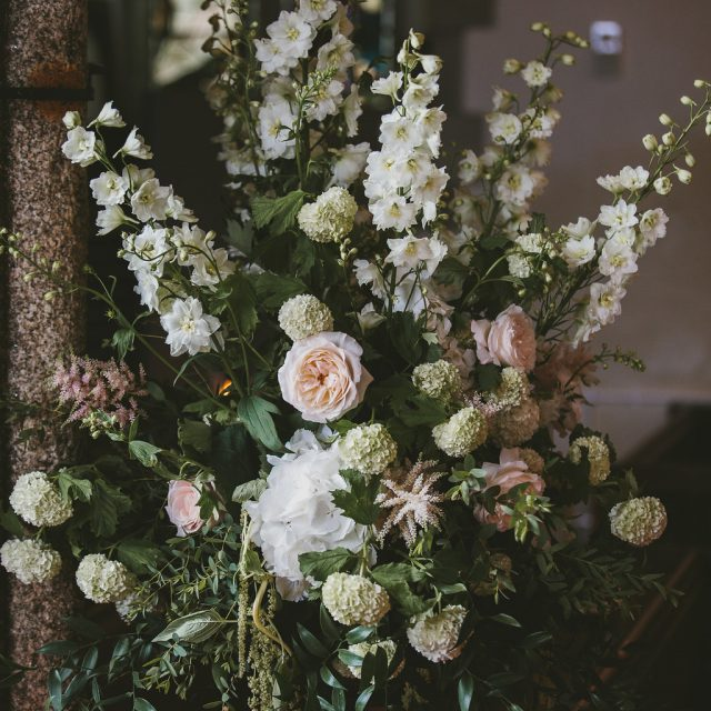 Floral decorations photo from the wedding style shoot at Fowey Hall Hotel, Cornwall.